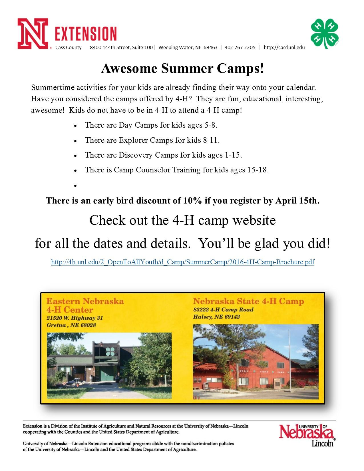 Advertisement for 4 H Camp flyer