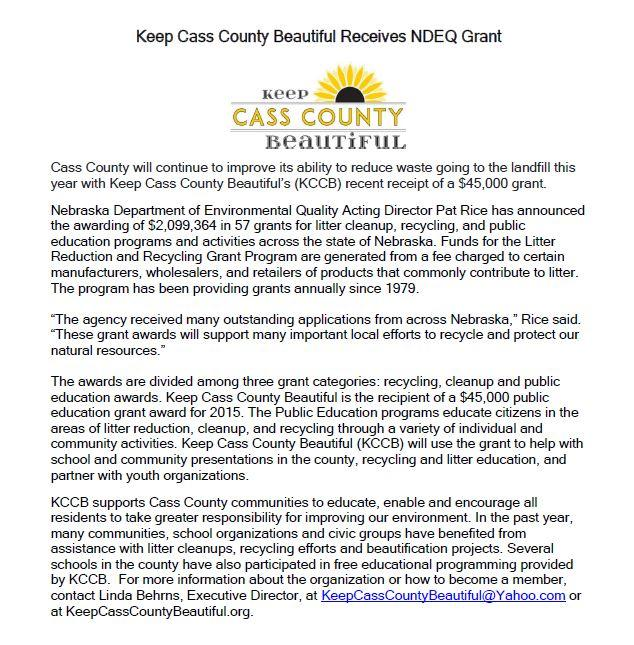 Keep Cass County Beautiful Receives NDEQ Grant
