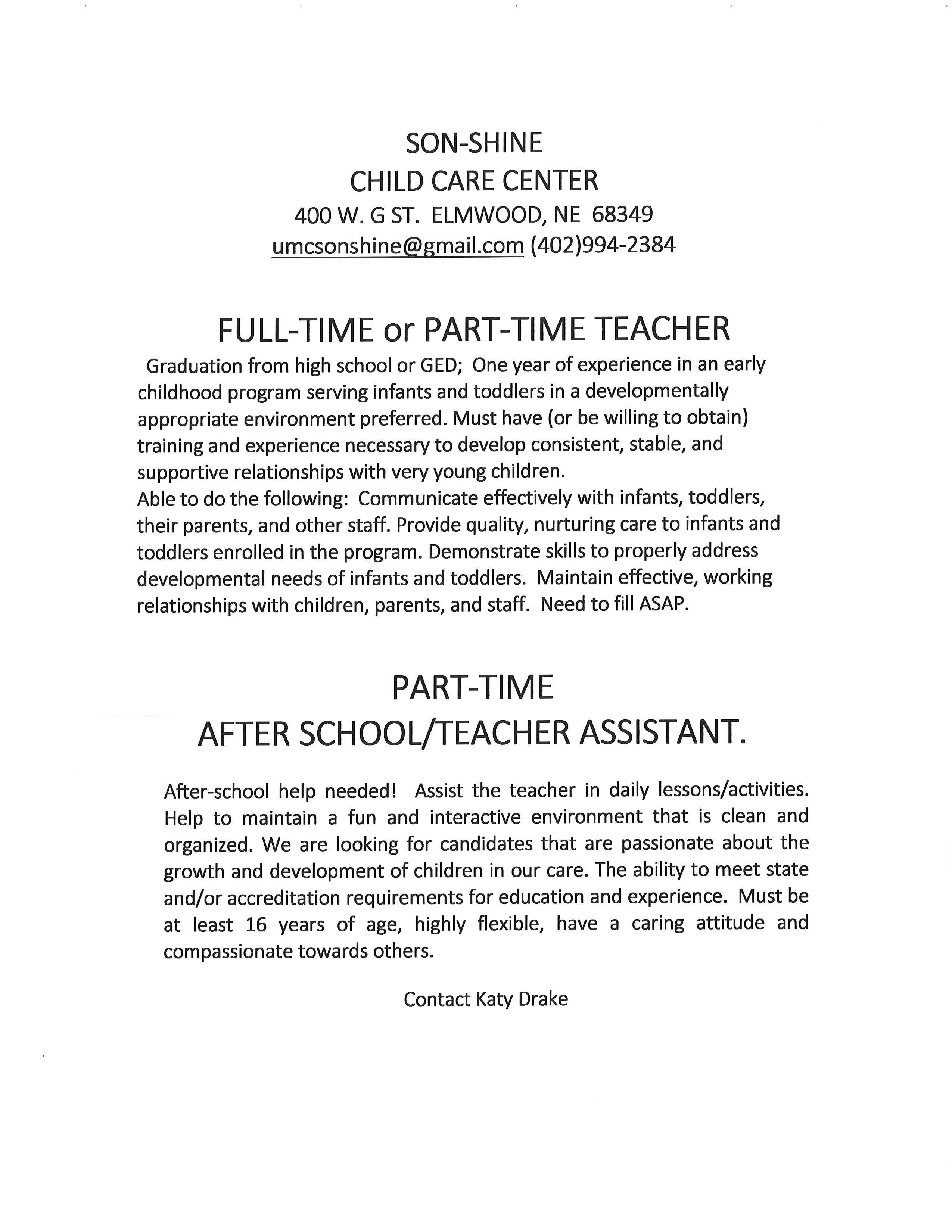Jobs at Day care