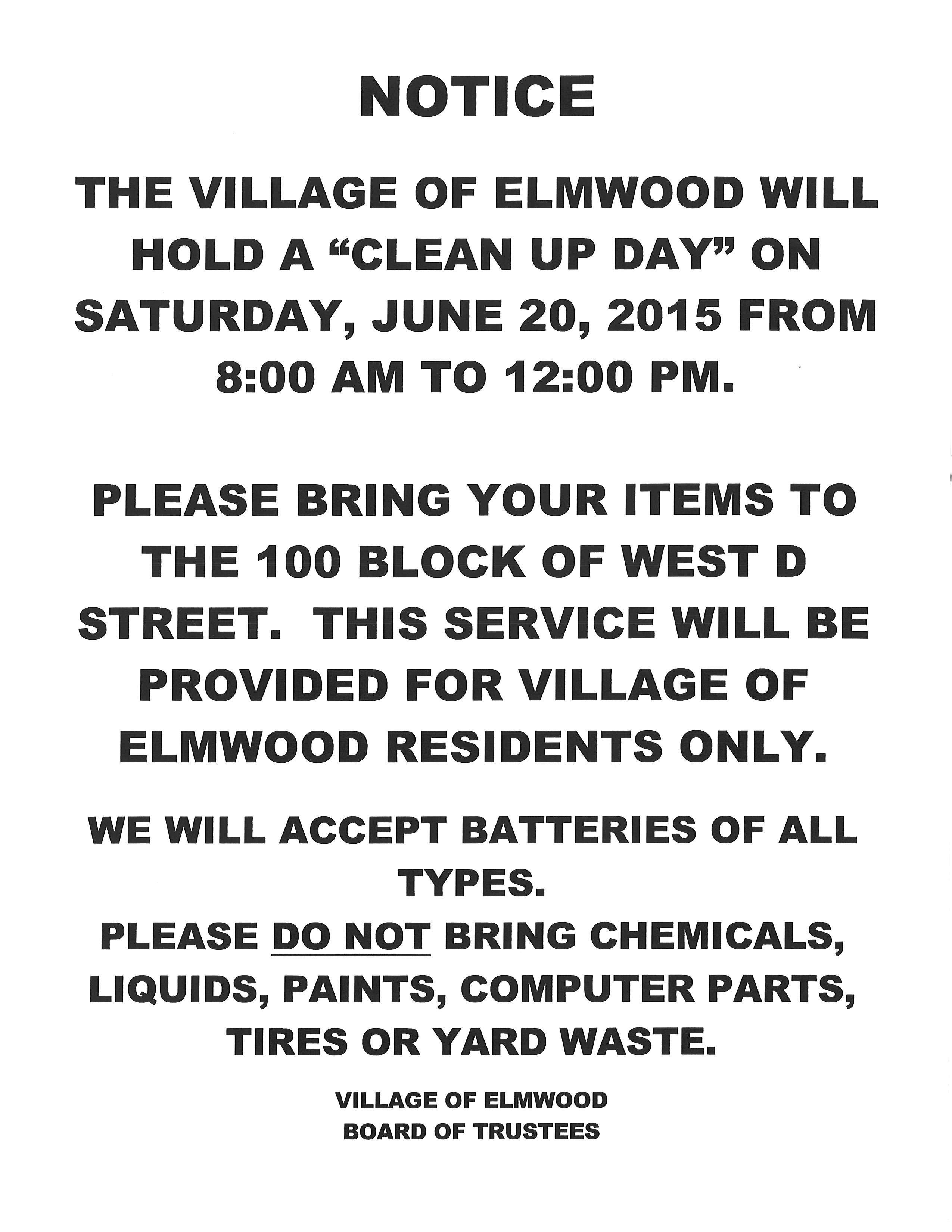 Elmwood Clean Up Day
