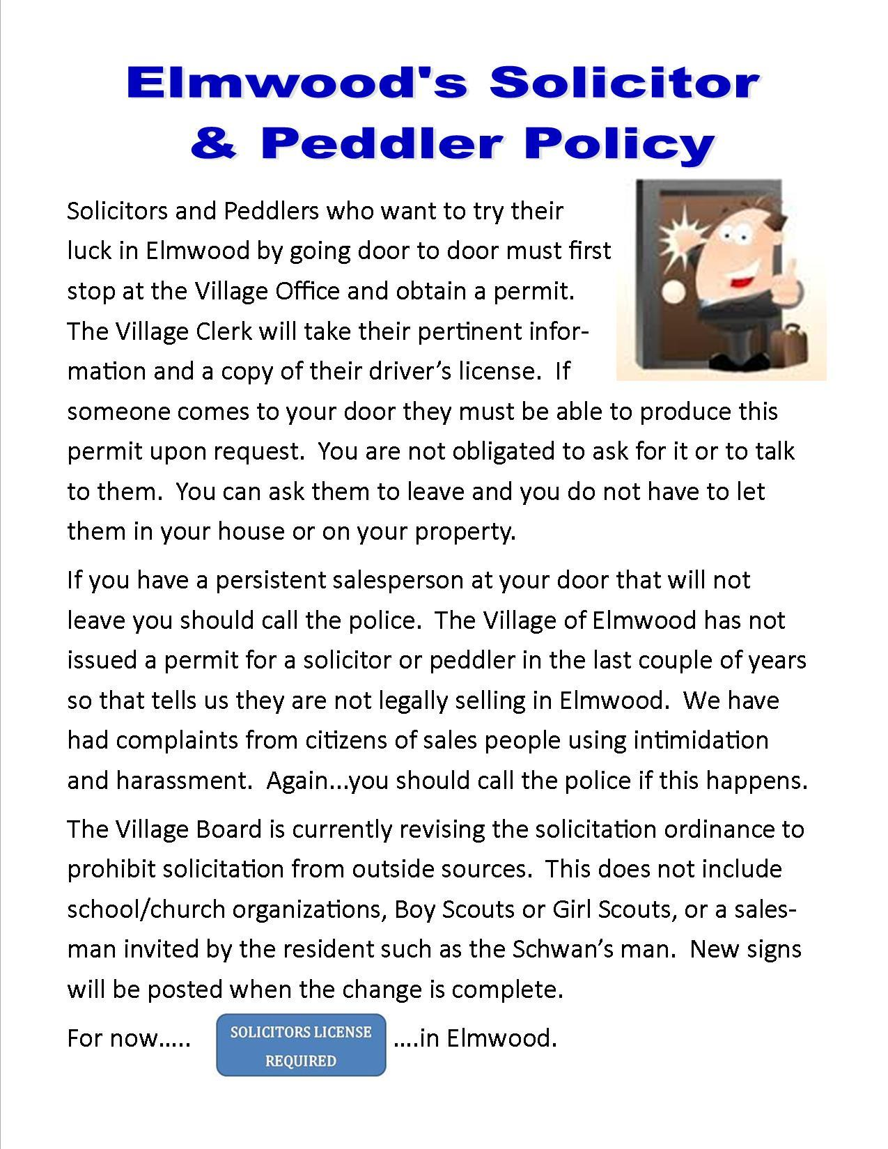 Solicitors and peddlers