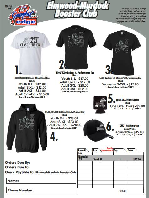 Booster Shirt order form