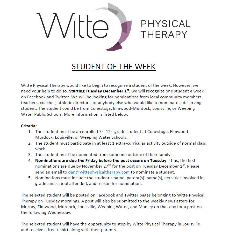 Witte Student of the Week