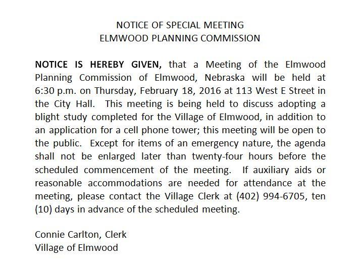 Notice of Planning Commission Special Meeting 2016.02.18