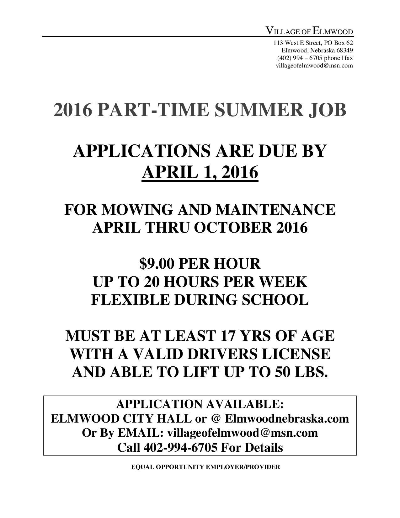 2016 Summer Job Notice page 001