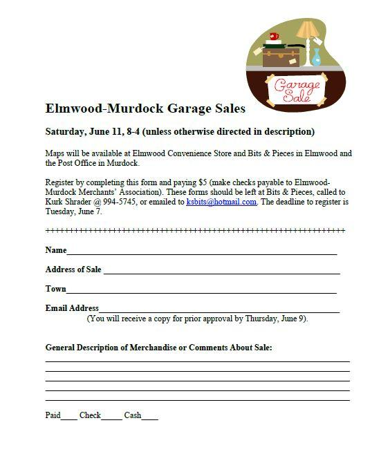 Elmwood Garage Sale form