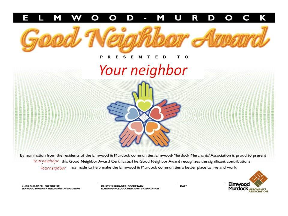 Good Neighbor Award Ad