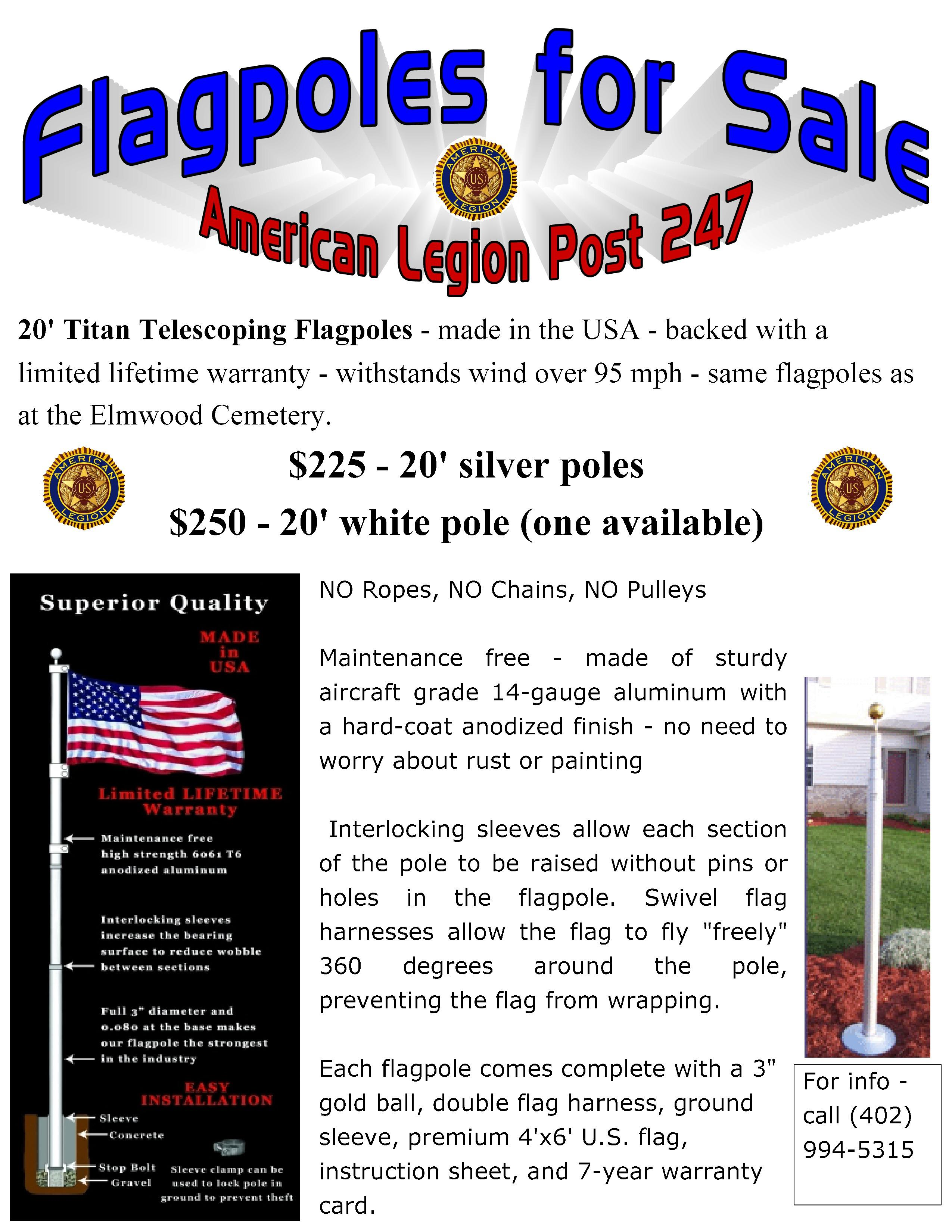 Flagpoles for sale Aug 2016 page 0