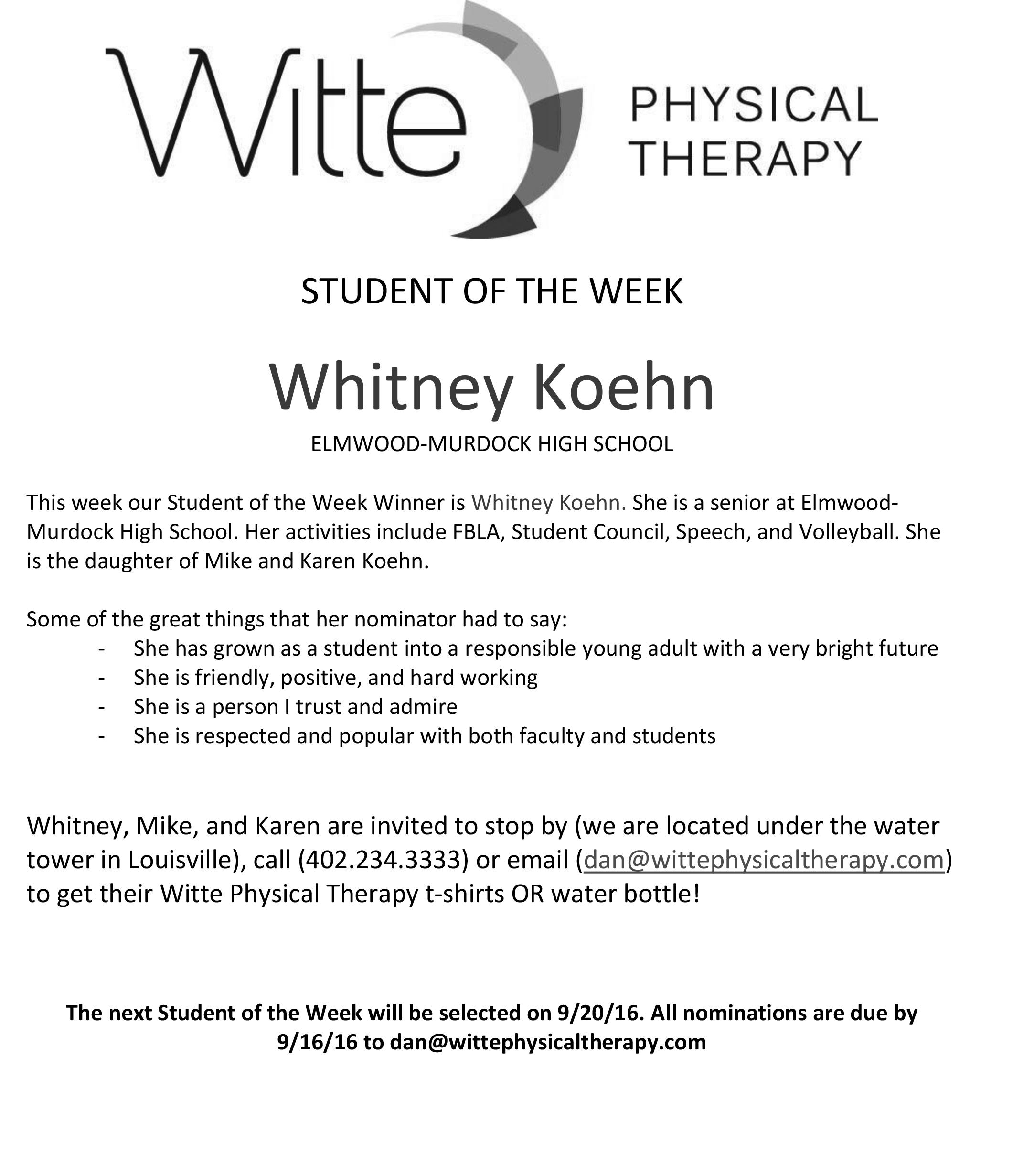 Student of the Week Selection