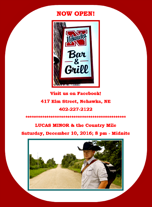 2016 12 07 NEHAWKA BAR and GRILL w Lucas Minor the Country Mile