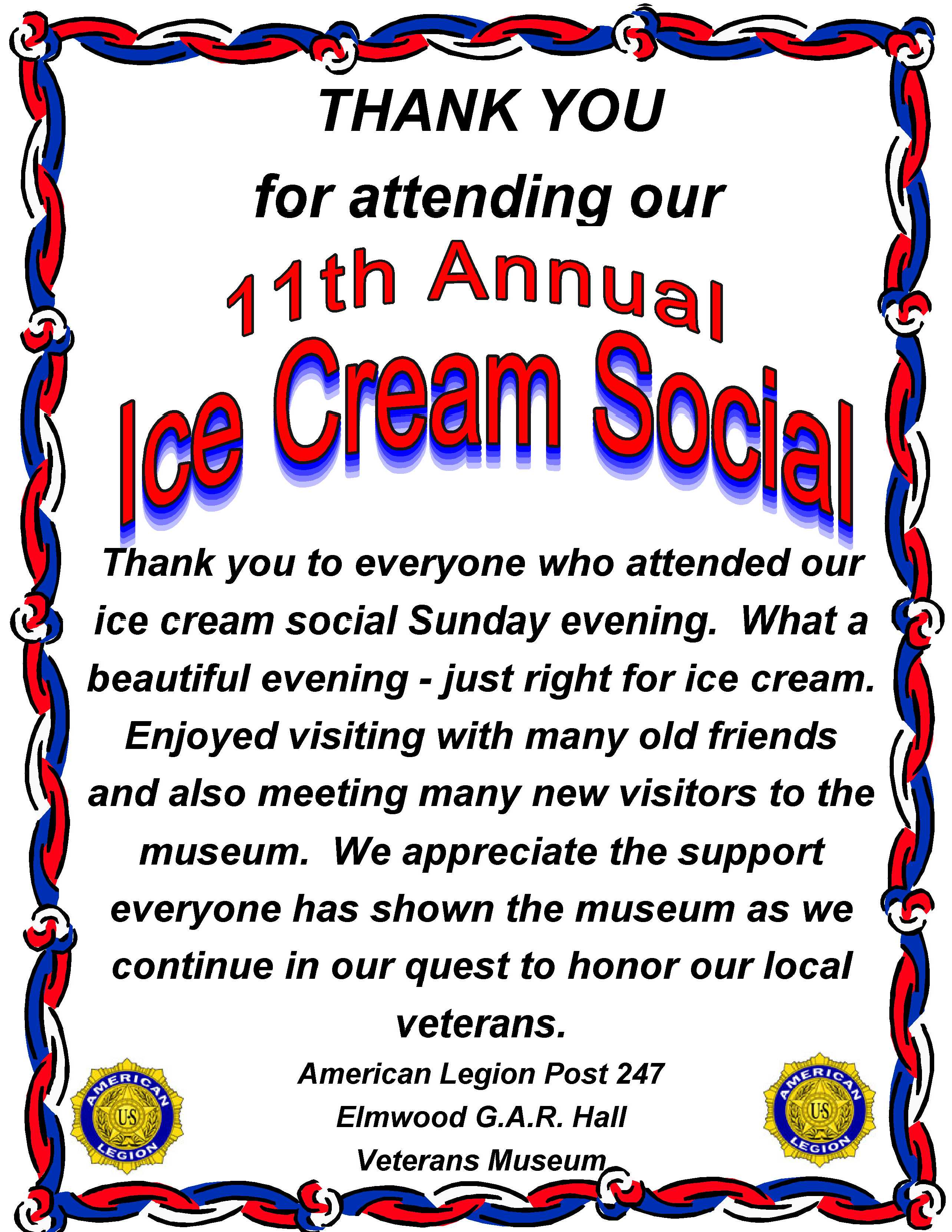 2014 Ice Cream Social Thank You