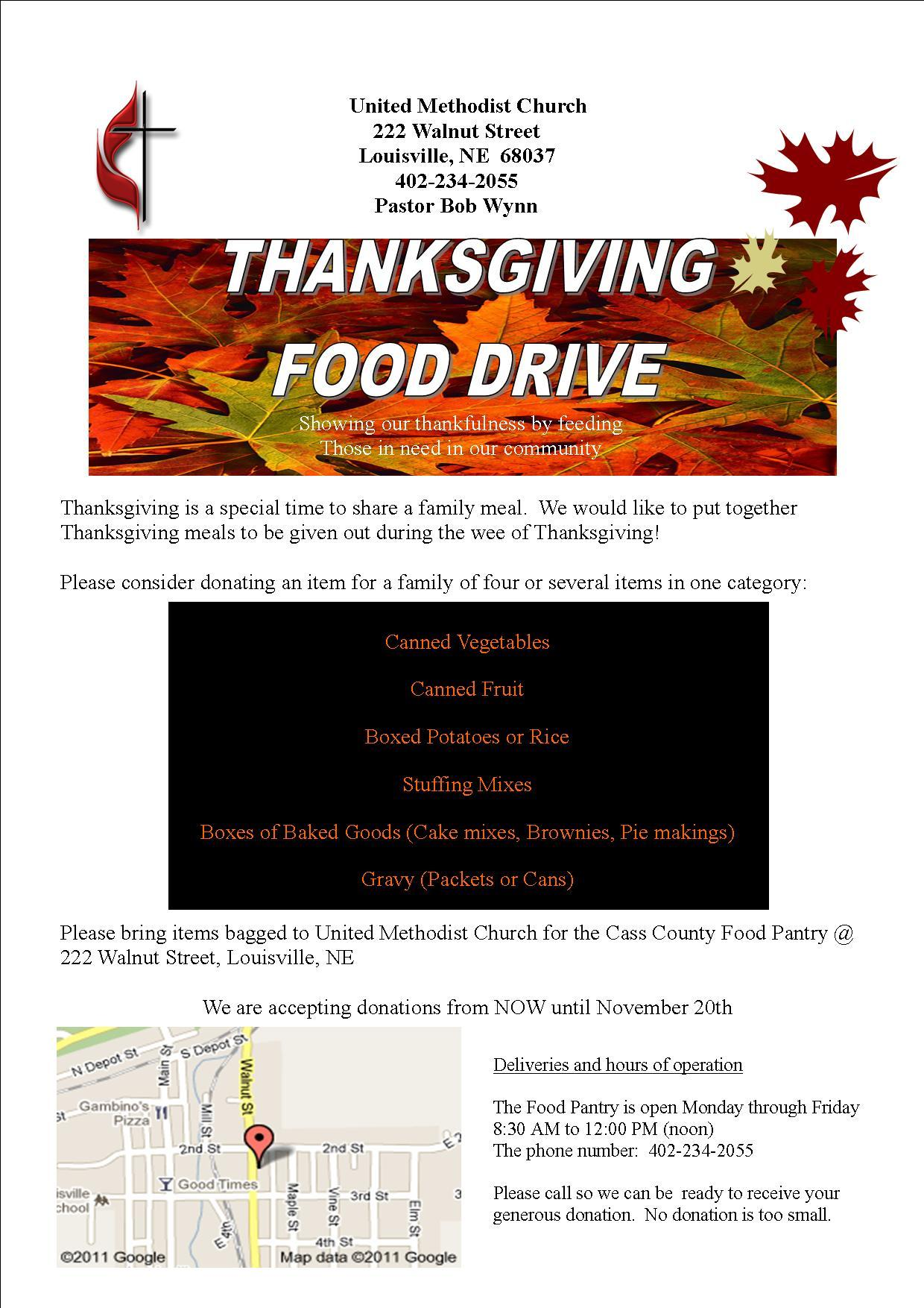 Cass County Food Pantry for Thanksgiving