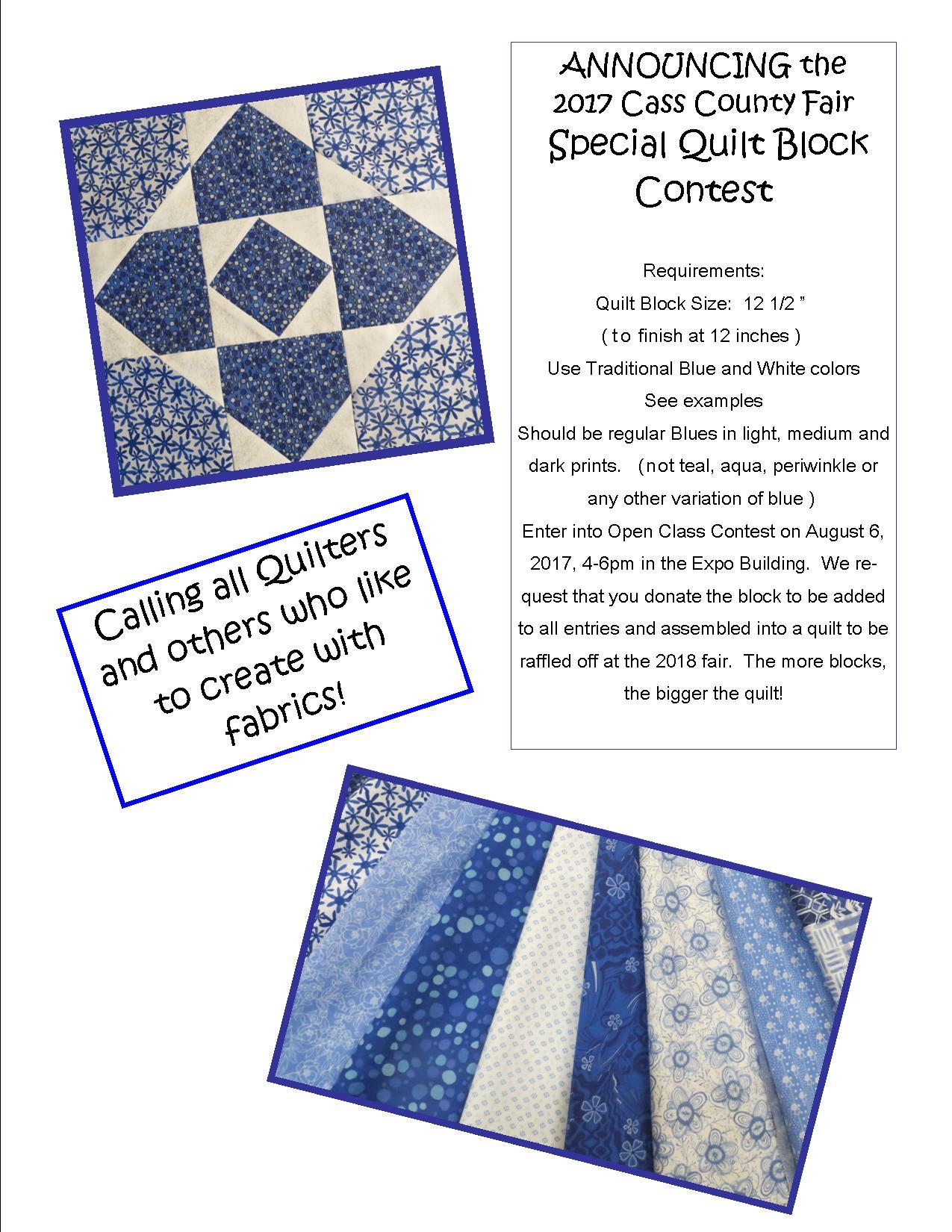 2017 Quilt Block Contest Flyer