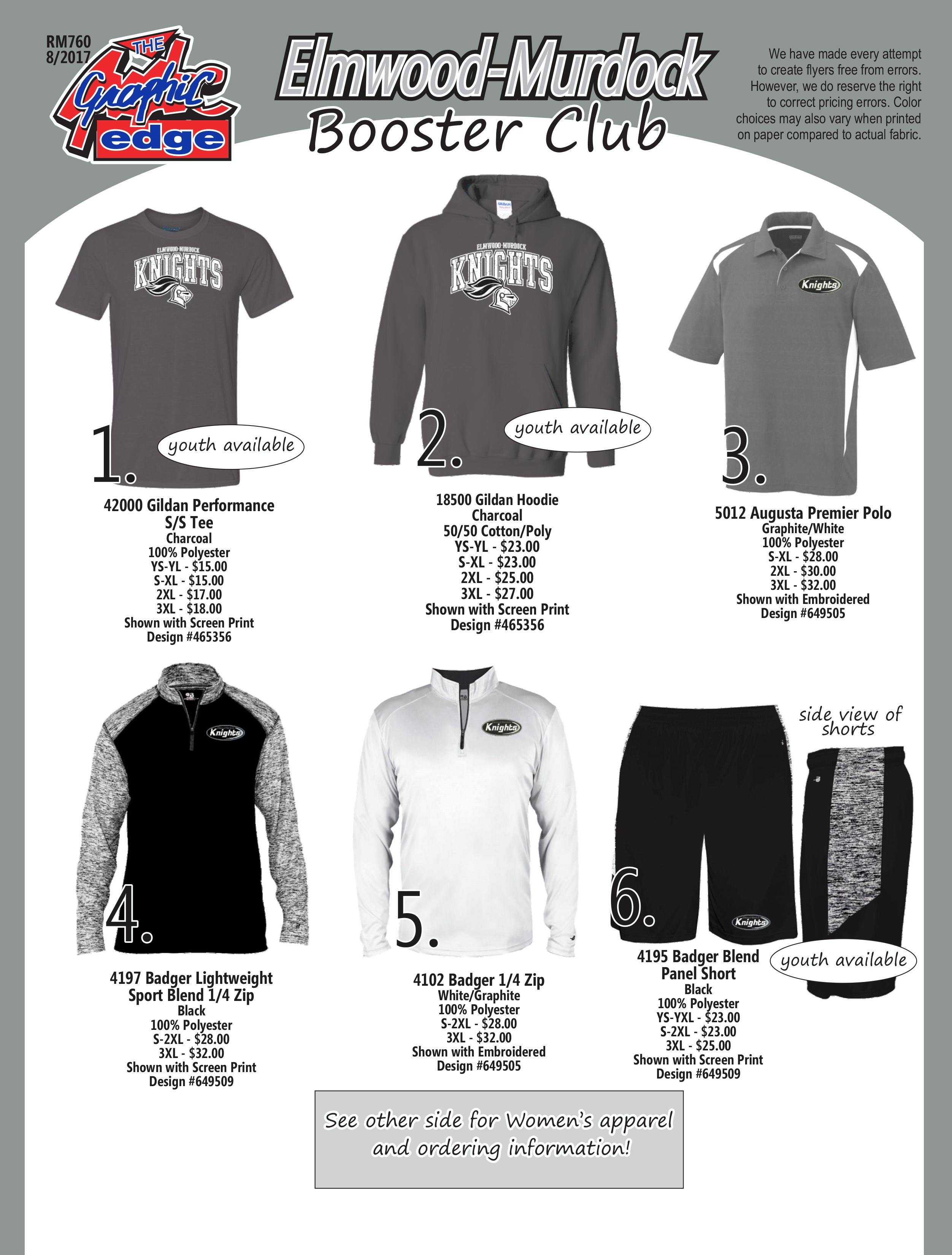 2017 Booster Club Clothing Order Final Front