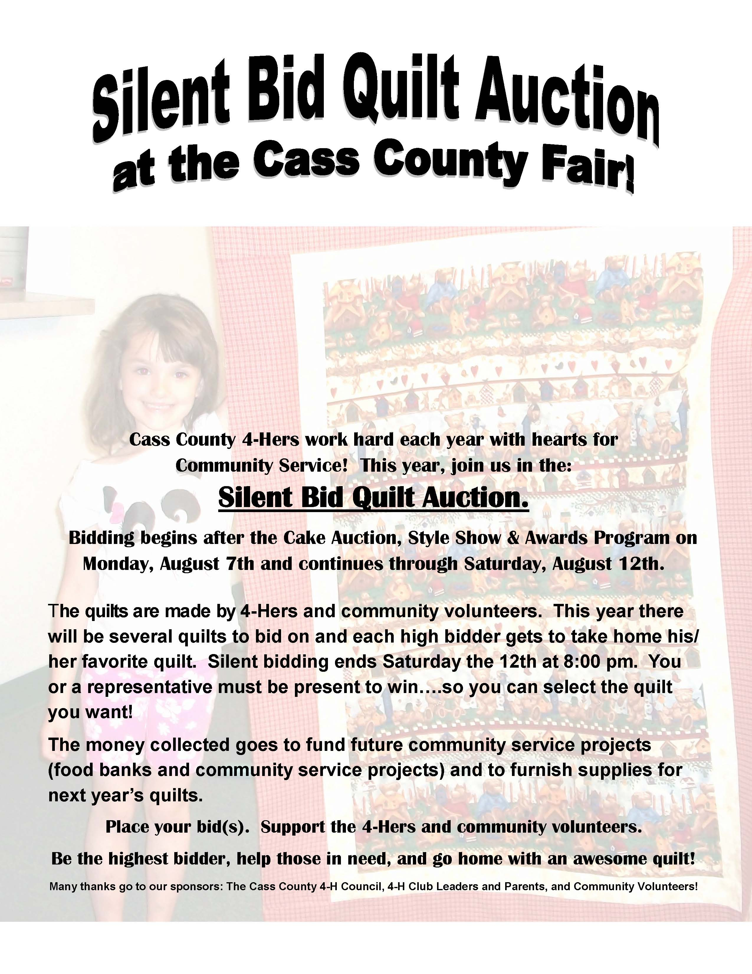 2017 flyer for Community Serivce Silent Quilt Auction