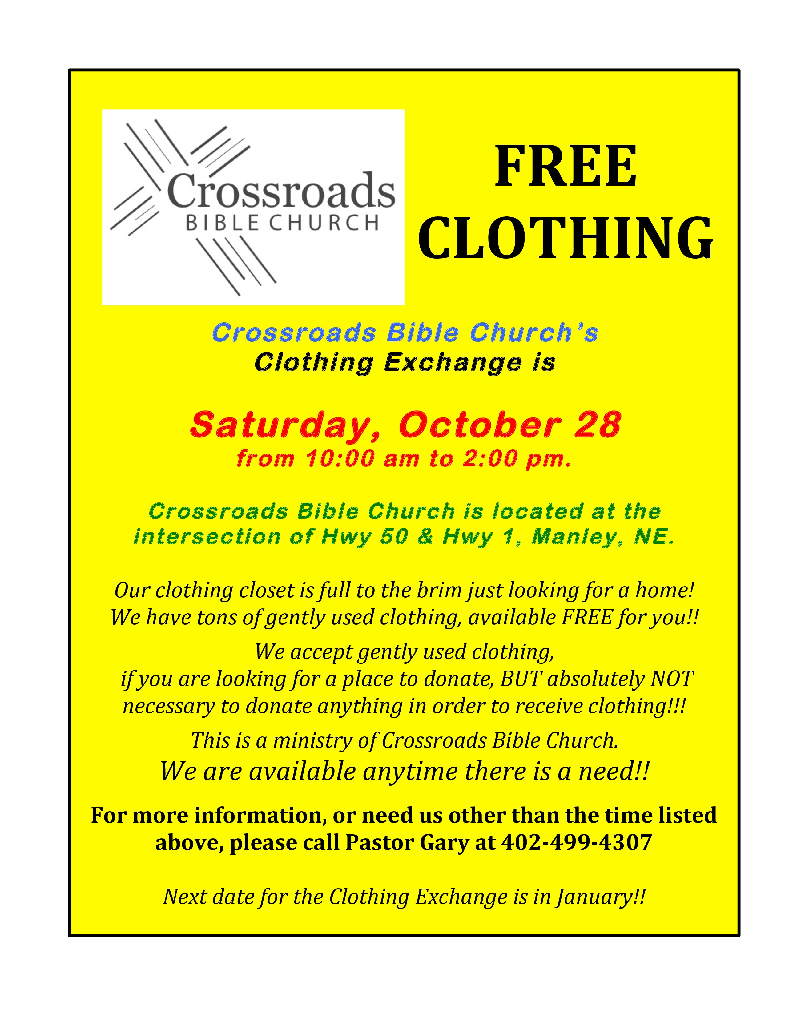Crossroads Bible Clothing Exchange Infomation page 0