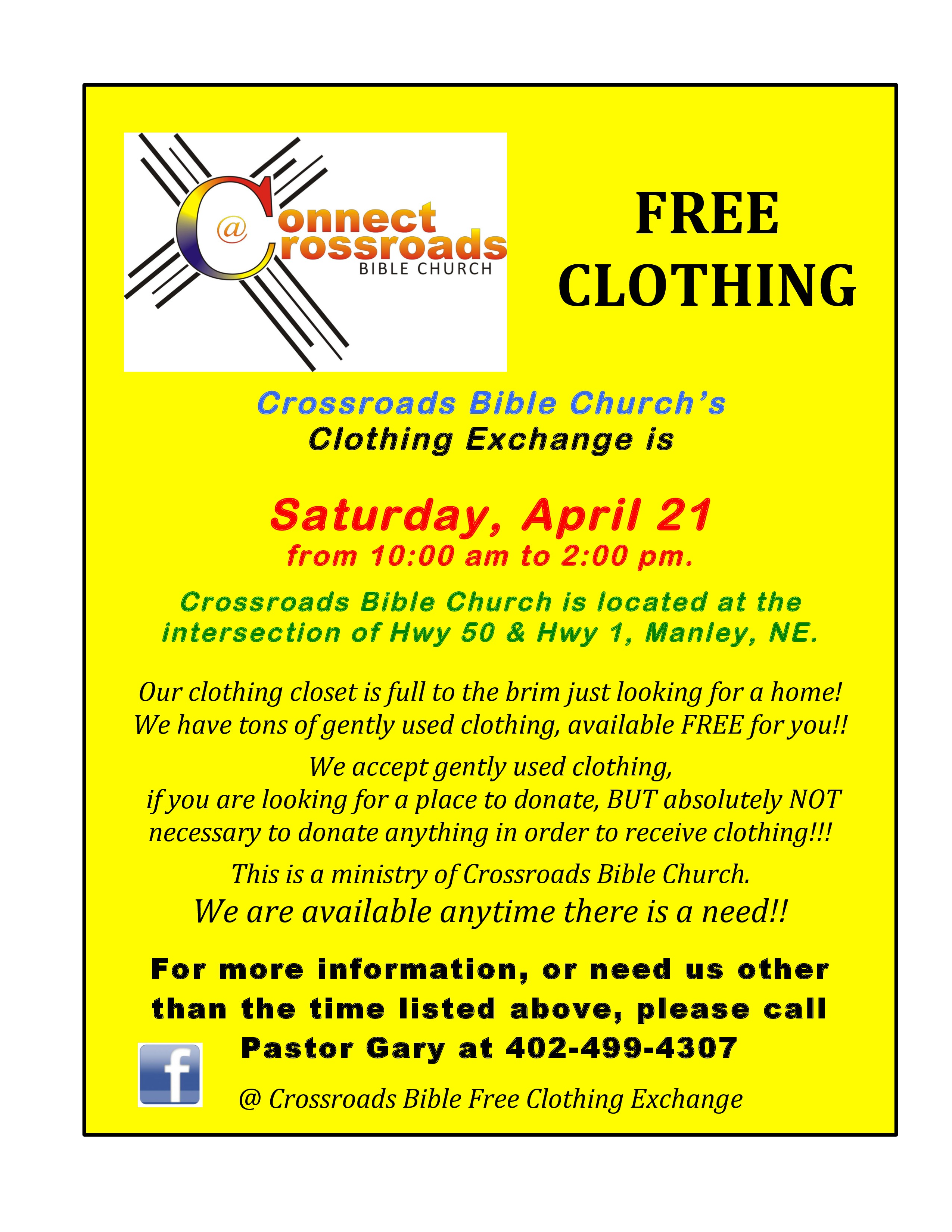 Crossroads Clothing Exchange April 21