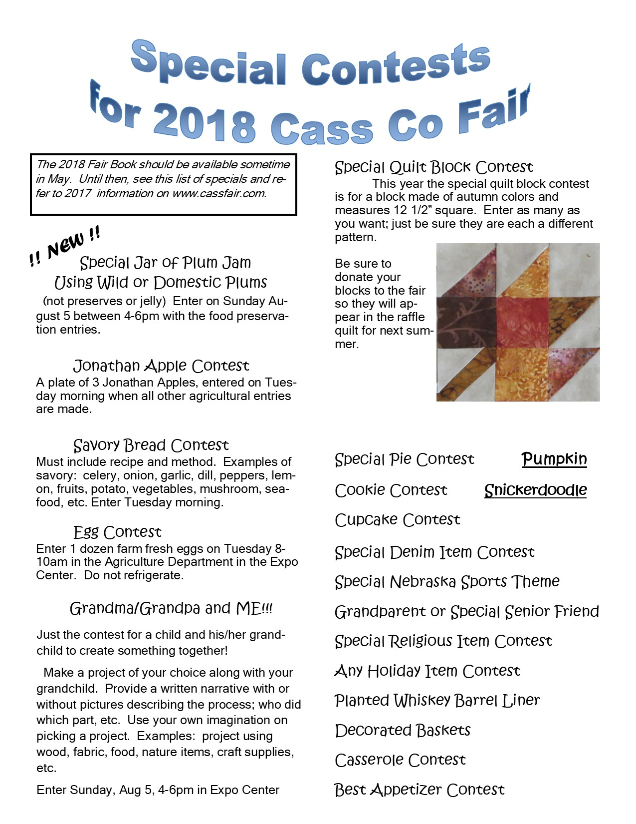 2018 Fair Special Contests