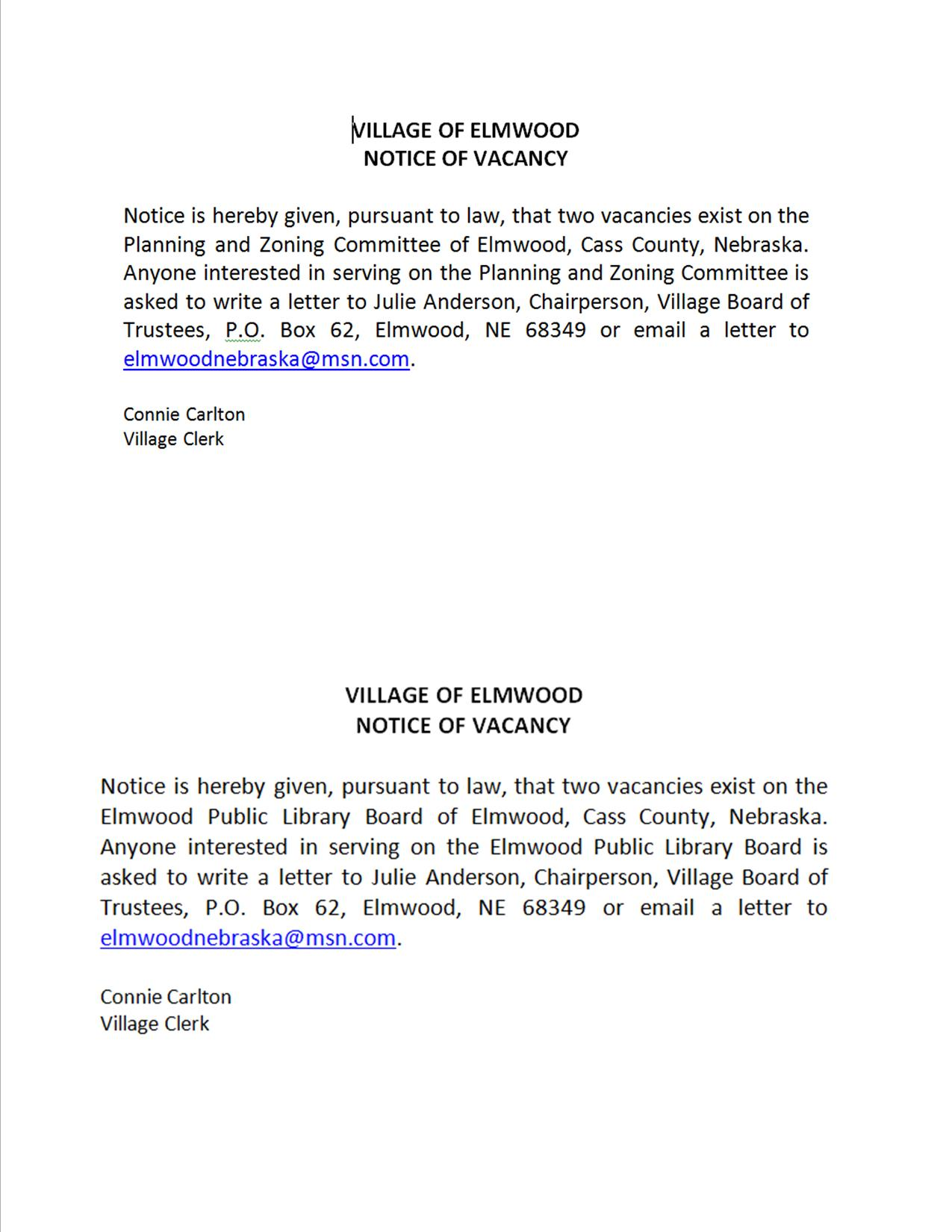 Vacancy of PC and Library Board 04 16 2018