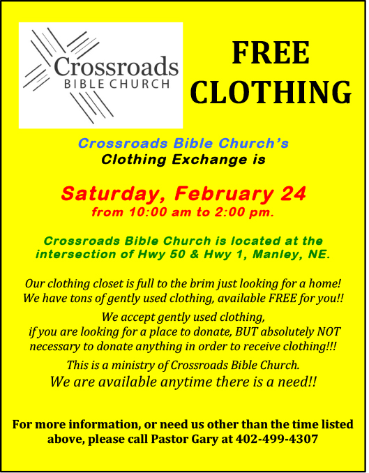 Crossroads Bible Clothing Exchange Infomation 2