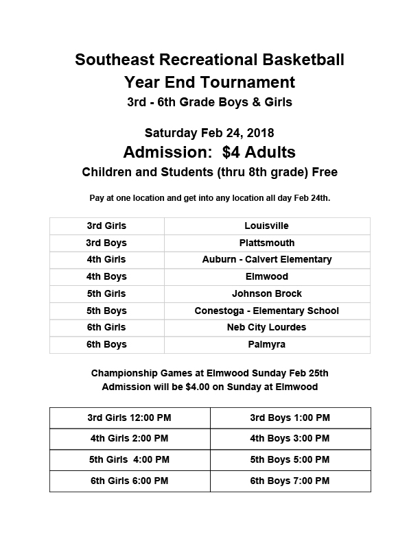 Basketball Tourney Admission and Location 2018 1