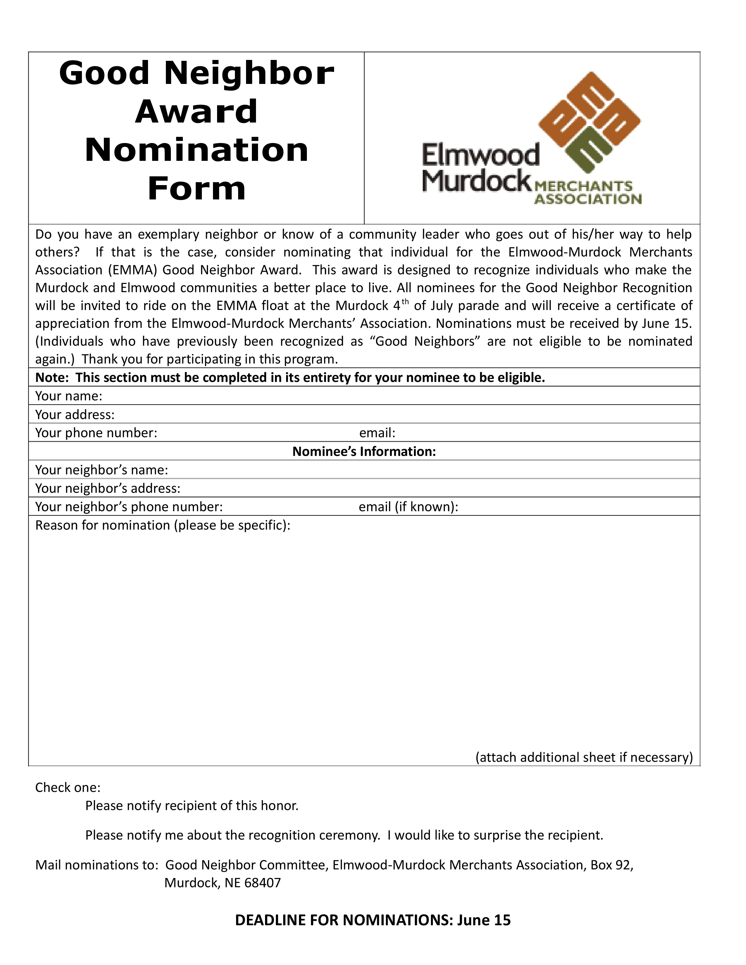 Good Neighbor Award Nomination Form page 0