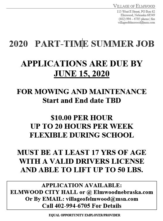 elmwood summer job